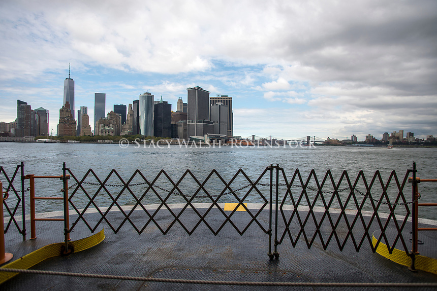 New York, USA, View of Lower Manhattan and the East River from the Staten Island Ferry departs South Ferry, in Manhattan, for a 5.2 mile voyage across Upper New York Bay, to St George, Staten Island. ©Stacy Walsh Rosenstock