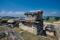 Picture of Roman sacrcophagi on a Tomb North Necropolis. Hierapolis archaeological site near Pamukkale in Turkey.