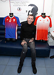 Fernando Ricksen this afternoon as the players strips for his Rangers Legends v England Select benefit match are revealed. The match in Fleetwood on March 25th will raise funds for Moror Neurone research