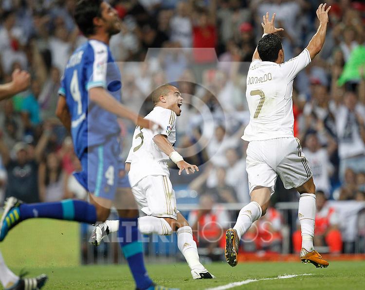 Real Madrid's Cristiano Ronaldo goal during La Liga match on september 10th 2011...Photo: Cesar Cebolla / ALFAQUI