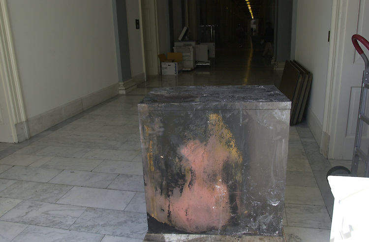 RC20000228-013-IW: February 28, 2000: A fire-scarred filing cabinet dries out in the hallway of the Cannon House Office building after a fire broke out in the Budget Committee room 209, Friday 2/25.           Ian Wagreich/Roll Call