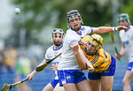 Mark Rodgers of Clare  in action against jack O Floinn of Waterford during their Munster  championship round robin game at Cusack Park Photograph by John Kelly.