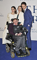 LONDON, ENGLAND - DECEMBER 09: Felicity Jones, Professor Stephen Hawking, Jane Hawking  &amp; Eddie Redmayne attend the &quot;The Theory of Everything&quot; UK film premiere, Odeon Leicester Square cinema, Leicester Square, on Tuesday December 09, 2014 in London, England, UK. <br /> CAP/CAN<br /> &copy;Can Nguyen/Capital Pictures /MediaPunch ***NORTH AND SOUTH AMERICAS ONLY***