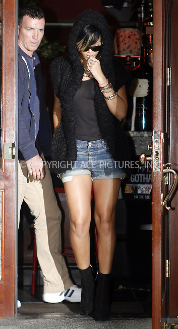 WWW.ACEPIXS.COM . . . . .  ....September 16 2009, New York City....Singer Rihanna seen leaving Da Silvano restaurant in Soho on September 16 2009 in New York City......Please byline: NANCY RIVERA- ACE PICTURES.... *** ***..Ace Pictures, Inc:  ..tel: (212) 243 8787 or (646) 769 0430..e-mail: info@acepixs.com..web: http://www.acepixs.com