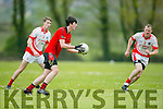 In Action Glen's Jack Brosnan and St. Pat's Kieran Dwyer and Liam Poff at the  Junior Premier Club Championship 2016 Round 1 St Pat's Blennerville V Glenbeigh-Glencar at Blennerville GAA Ground on Sunday
