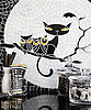 *SPECIAL EDITION* Puss 'n Hoots, a one of a kind hand-cut and waterjet jewel glass mosaic, designed by Cean Irminger for New Ravenna.