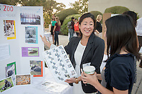 Occidental College student Hayley Lew '16 shares her InternLA experience working at the LA Zoo during the Career Development Center's Reverse Career Fair, Thorne Hall patio, Sept. 3, 2015.<br /> (Photo by Marc Campos, Occidental College Photographer)