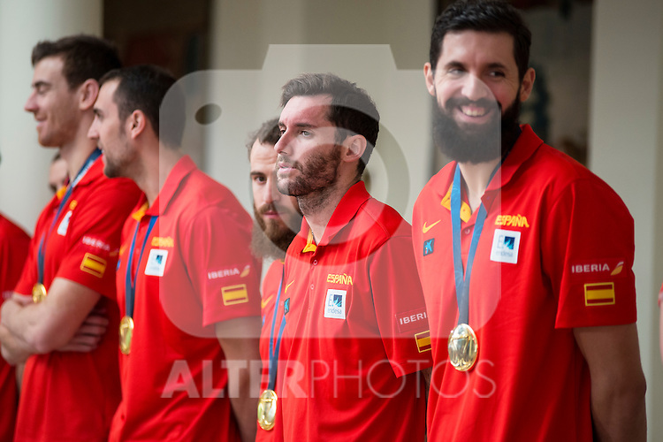 The reception of Prime Minister Mariano Rajoy to Spain national basketball team gold at EuroBasket 2015 at Moncloa Palace in Madrid, 21 September, 2015.<br /> Rudy Fernandez.<br /> (ALTERPHOTOS/BorjaB.Hojas)