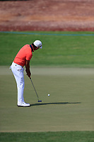 Ashun Wu (CHN) on the 13th green during the 2nd round of the DP World Tour Championship, Jumeirah Golf Estates, Dubai, United Arab Emirates. 16/11/2018<br /> Picture: Golffile | Fran Caffrey<br /> <br /> <br /> All photo usage must carry mandatory copyright credit (© Golffile | Fran Caffrey)