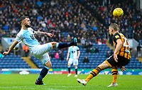 Blackburn Rovers' Adam Armstrong plays the ball over the head of Hull City's Stephen Kingsley<br /> <br /> Photographer Alex Dodd/CameraSport<br /> <br /> The EFL Sky Bet Championship - Blackburn Rovers v Hull City - Saturday 26th January 2019 - Ewood Park - Blackburn<br /> <br /> World Copyright © 2019 CameraSport. All rights reserved. 43 Linden Ave. Countesthorpe. Leicester. England. LE8 5PG - Tel: +44 (0) 116 277 4147 - admin@camerasport.com - www.camerasport.com