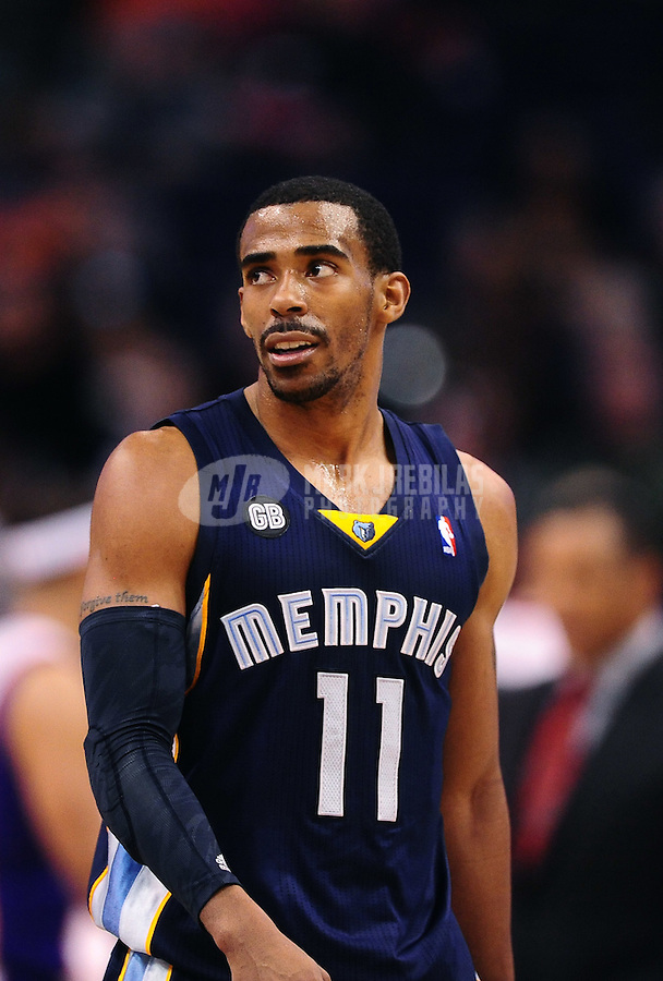 Jan. 28, 2012; Phoenix, AZ, USA; Memphis Grizzlies guard Mike Conley against the Phoenix Suns at the US Airways Center. The Suns defeated the Grizzlies 86-84. Mandatory Credit: Mark J. Rebilas-USA TODAY Sports