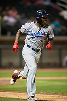 Pensacola Blue Wahoos right fielder Aristides Aquino (6) runs to first base during a game against the Birmingham Barons on May 8, 2018 at Regions Field in Birmingham, Alabama.  Birmingham defeated Pensacola 5-2.  (Mike Janes/Four Seam Images)