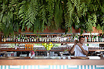 Main bar at Insolito, with a view that overlooks Ferradura Beach.