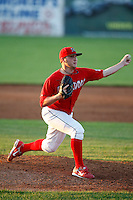 June 26, 2009:  Pitcher Daniel Calhoun of the Batavia Muckdogs delivers a pitch during a game at Dwyer Stadium in Batavia, NY.  The Muckdogs are the NY-Penn League Short-Season Class-A affiliate of the St. Louis Cardinals.  Photo by:  Mike Janes/Four Seam Images
