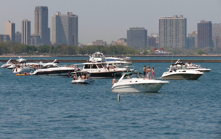 Chicago Scenes - Spring -  Pleasure boats anchor in the harbor of the Ohio Street Beach on Lake Michigan. (DePaul University/Jamie Moncrief)