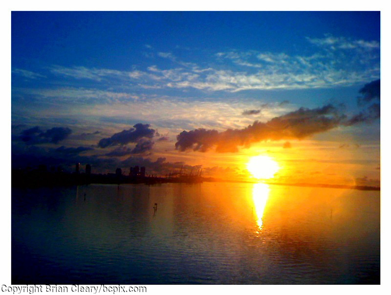 Sunrise over Biscayne Bay, Miami.  Photo taken with iPhone 3G. (Photo by Brian Cleary/www.bcpix.com)