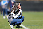 DURHAM, NC - FEBRUARY 26: Notre Dame head coach Christine Halfpenny. The Duke University Blue Devils hosted the University of Notre Dame Fighting Irish on February, 26, 2017, at Koskinen Stadium in Durham, NC in a Division I College Women's Lacrosse match. Notre Dame won the game 12-11.