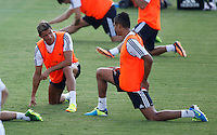 Ronaldo speks with one of his colleagues during Real Madrid´s first training session of 2013-14 seson. July 15, 2013. (ALTERPHOTOS/Victor Blanco) ©NortePhoto