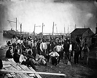 Group of Negro laborers. Mathew Brady Collection.  (Army)<br /> Exact Date Shot Unknown<br /> NARA FILE #:  111-B-400<br /> WAR & CONFLICT BOOK #:  202