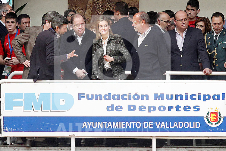Princess Letizia of Spain attends the matches of the School Championship Volleyball of Spain in presence of the President of the Region of Castilla y Leon Juan Vicente Herrera (l) and the Mayor of Valladolid Francisco Javier Leon de la Riva.April 24,2014. (ALTERPHOTOS/Acero)
