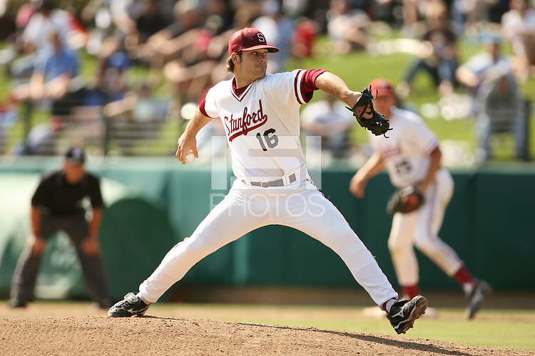 SACRAMENTO, CA - MARCH 27:  Jordan Pries of the Stanford Cardinal during Stanford's 5-4 win over the USC Trojans on March 27, 2010 at Sunken Diamond in Stanford, California.