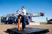 Presumptive Republican candidate for President Mitt Romney (cq) speaks to a crowd at a K.P. Kauffman Company drilling rig in Fort Lupton, Colorado, Wednesday, May 9, 2012. Romney was giving a recovering the economy stump speech.<br /> <br /> Photo by MATT NAGER