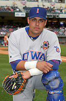 Iowa Cubs catcher Geovany Soto during warmups before the Triple-A All-Star Game at Fifth Third Field on July 12, 2006 in Toledo, Ohio.  (Mike Janes/Four Seam Images)