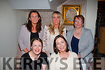 Leaving Do<br /> ---------------<br /> Deirdre Herlihy,Listowel,seated Rt with Tracie Ferris enjoying a farewell night out in Bella Bia,Tralee as she is leaving the Bon Secure hospital,Tralee after 10yrs.Back L-R Mired Brennan,Martina Fernando and Breda Nugent.