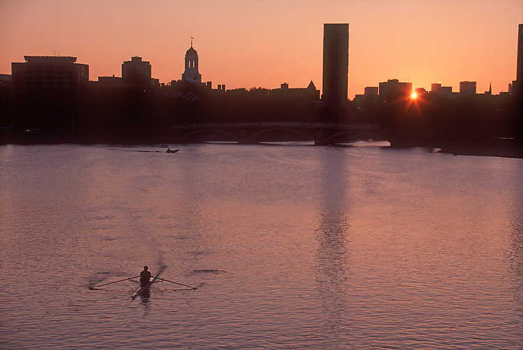 Rowing, Harvard University at dawn, rower on the Charles River, Cambridge, Massachusetts, New England, USA,.