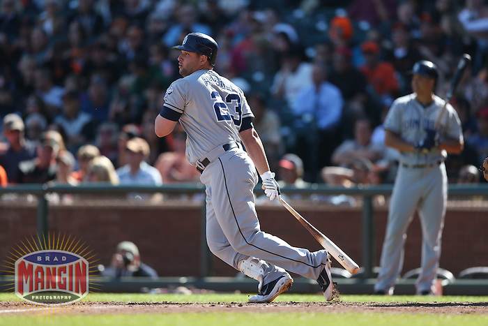 SAN FRANCISCO, CA - SEPTEMBER 23:  Yonder Alonso #23 of the San Diego Padres bats against the San Francisco Giants during the game at AT&T Park on Sunday, September 23, 2012 in San Francisco, California. Photo by Brad Mangin