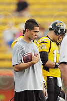 July 12, 2008; Hamilton, ON, CAN; Hamilton Tiger-Cats quarterback Timmy Chang (7) prior to the CFL football game against the Saskatchewan Roughriders at Ivor Wynne Stadium. The Roughriders defeated the Tiger-Cats 33-28. Mandatory Credit: Ron Scheffler.