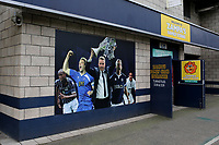 Large picture on the side of The New Den shows Millwall Manager, Neil Harris holding the Trophy aloft after winning the 2017 Division One Play-Off Final during Millwall vs Hull City, Emirates FA Cup Football at The Den on 6th January 2019