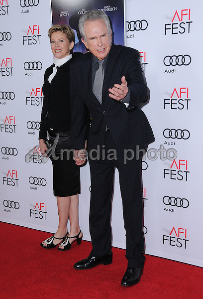 """10 November 2016 - Hollywood, California. Annette Bening, Warren Beatty. AFI FEST 2016 - Opening Night Premiere Of """"Rules Don't Apply"""" held at TCL Chinese Theater. Photo Credit: Birdie Thompson/AdMedia"""