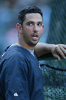 Jorge Posada of the New York Yankees during batting practice before a 2007 MLB season game  against the Los Angeles Angels at Angel Stadium in Anaheim, California. (Larry Goren/Four Seam Images)
