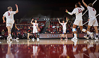 STANFORD, CA - January 17, 2019: Paul Bischoff, Jordan Ewert, Eric Beatty, Jaylen Jasper, Stephen Moye, Kyle Dagostino at Maples Pavilion. The Stanford Cardinal defeated UC Irvine 27-25, 17-25, 25-22, and 27-25.