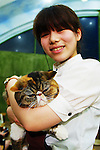 """January 15, 2015, Tokyo, Japan : A staff holds a cat at the """"Temari No Uchi"""" Cat Cafe in Tokyo, Japan. Temari No Uchi, a Neko Cafe (cat cafe) based in Kichijoji where visitors can watch and interact with 19 cats whilst eating or having a coffee break. The store opened in April 2013 and allows to customers to play with cats and to escape from the stresses of the city life. The entrance fee is 1200 JPY (9.75 USD) on weekdays and 1600 JPY (12.99 USD) on weekend with discounts after 7pm. Drinks and food are charged separately. According to the shop staff most visitors are Japanese women but also men and children visit this cafe. The fist cat cafe in the world opened in Taipei, Taiwan in 1998, and the fist Japanese store was opened in Osaka in 2004. (Photo by Rodrigo Reyes Marin/AFLO)"""