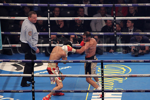 28th October 2017, Principality Stadium, Cardiff, Wales; World Heavyweight Boxing, Anthony Joshua versus Carlos Takam, Undercard fight;  Kal Yafai Versus Sho Ishida for WBA super flyweight world championship; Kal Yafai lands a left hook to Sho Ishida