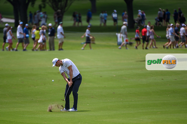 Martin Kaymer (GER) hits his approach shot on 2 during round 3 of the 2019 Charles Schwab Challenge, Colonial Country Club, Ft. Worth, Texas,  USA. 5/25/2019.<br /> Picture: Golffile   Ken Murray<br /> <br /> All photo usage must carry mandatory copyright credit (© Golffile   Ken Murray)