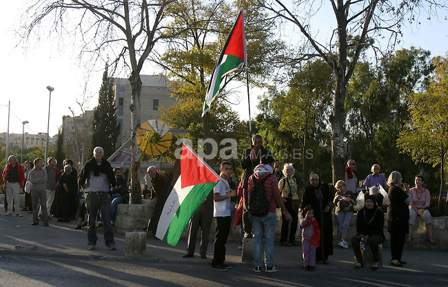 Palestinian demonstrators wave their national flag in the mostly Arab Jerusalem neighbourhood of Sheikh Jarrah on Nov.11,2011 during a weekly demonstration by Israeli, Palestinian and international activists. Photo by Mahfouz Abu Turk
