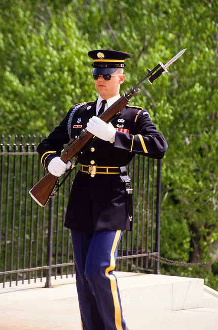 Guard with bajonet riffle in Arlington cemetery in Washington DC, USA