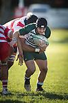 Brendon Bell fights his way upfield for Manurewa. Counties Manukau Premier Club Rugby game between Karaka and Manurewa, played at Karaka, on Saturday June 14 2014. Karaka won the game 63- 24 after leading 32 - 10 at halftime  Photo by Richard Spranger