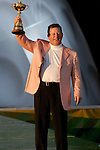 Winning European Team Captain Ian Woosnam holds the Ryder Cup aloft at the closing ceremony of the 2006 Ryder Cup at The K Club..Photo: Eoin Clarke/Newsfile.