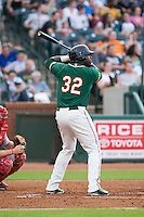 K.J. Woods (32) of the Greensboro Grasshoppers at bat against the Greenville Drive at NewBridge Bank Park on August 17, 2015 in Greensboro, North Carolina.  The Drive defeated the Grasshoppers 5-4 in 13 innings.  (Brian Westerholt/Four Seam Images)