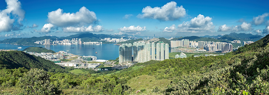 A Nine Image Panorama: The View From High Junk Peak, Looking Over Tseung Kwan O Towards Hong Kong Island.