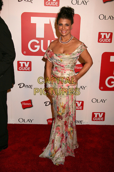 PAULA ABDUL.The TV Guide After Party following the 58th Annual Primetime Emmy Awards, Los Angeles, California, USA..August 27th, 2006.Ref: ADM/BP.full length off the shoulder floral print dress white pink hand on hip.www.capitalpictures.com.sales@capitalpictures.com.©Byron Purvis/AdMedia/Capital Pictures.