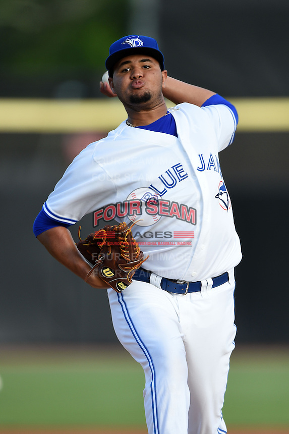Dunedin Blue Jays pitcher Jairo Labourt (47) delivers a pitch during a game against the Brevard County Manatees on April 23, 2015 at Florida Auto Exchange Stadium in Dunedin, Florida.  Brevard County defeated Dunedin 10-6.  (Mike Janes/Four Seam Images)