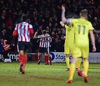 Lincoln City's Neal Eardley celebrates scoring the opening goal<br /> <br /> Photographer Andrew Vaughan/CameraSport<br /> <br /> The EFL Sky Bet League Two - Lincoln City v Cheltenham Town - Tuesday 13th February 2018 - Sincil Bank - Lincoln<br /> <br /> World Copyright &copy; 2018 CameraSport. All rights reserved. 43 Linden Ave. Countesthorpe. Leicester. England. LE8 5PG - Tel: +44 (0) 116 277 4147 - admin@camerasport.com - www.camerasport.com