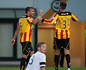 Partick's Conrad Balatoni celebrates after he scores their second goal.