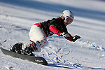 14/12/2013, Carezza - FIS Snowboard World Cup <br /> Emilie Aurange competes during the Parallel Slalom event of the FIS Snowboard World Cup  on 14/12/2013 in Carezza, Italy.<br /> <br /> &copy; Pierre Teyssot<br /> <br /> Emilie Aurange