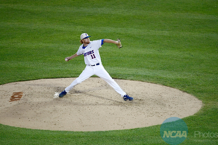 27 JUNE 2011:  Hudson Randall (11) of the University of Florida pitches against the University of South Carolina during the Division I Men's Baseball Championship held at TD Ameritrade Stadium in Omaha, NE.  South Carolina defeated Florida 2-1 to win Game 1 of the championship series.  Jamie Schwaberow/NCAA Photos